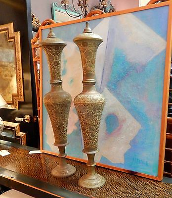 Vintage Pair Of Large Scale Etched Design Decorative Urns Or Lamp Bases India