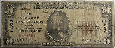 1929 First National Bank In East St. Louis Illinois $50 Bank Note FR 1803-1