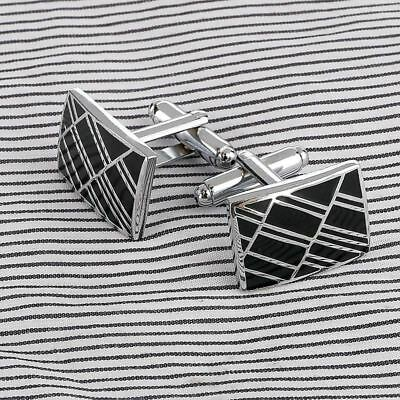 Men Metal Studs Square Steel Cuff Links Vintage Silver Grid Laser Cuff Charms