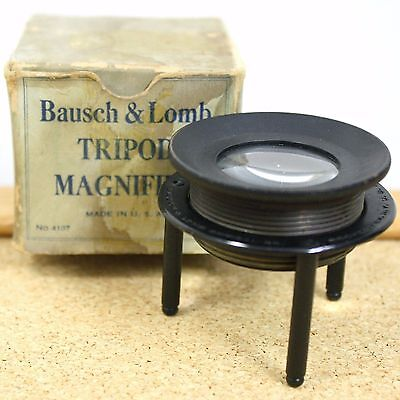 Bausch & Lomb Tripod Magnifier Jeweler Loupe Optical Rochester New York Antique