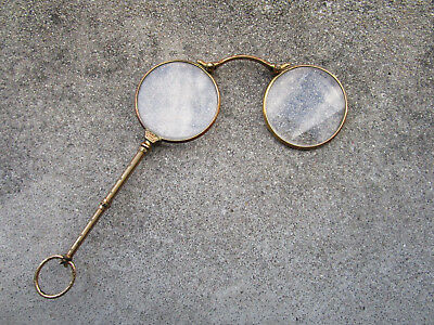 Old beautiful pair of glasses golden to system binocle pomponne with case Nice