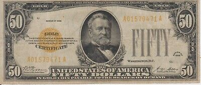 United States 1928 $50 Gold Certificate Note