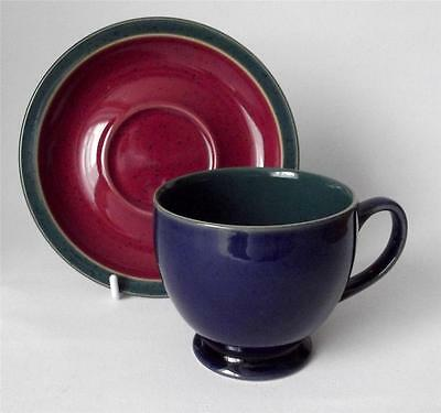 Denby Pottery Harlequin Pattern Cup and Saucer made in Stoneware