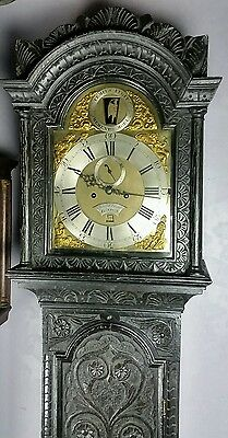 18Th Century Carved Oak Longcase Grandfather Clock  London Rocking Father Time
