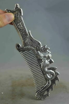 Collection Handwork Decor Old Miao Silver Carving Dragon & Phoenix Exorcism Comb