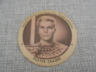 VINTAGE 1930'S DIXIE ICE CREAM CUP LID - BUSTER CRABBE AS Flash Gordon