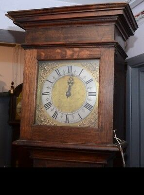 18Th Century Longcase Clock Single Hand Brass Face Very Long Door Newport Maker