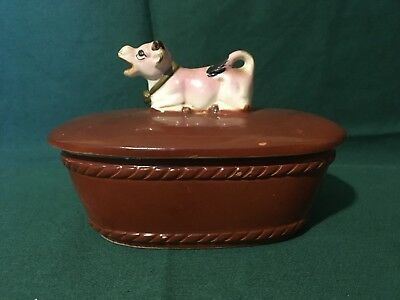Vintage Purple Cow Topped Butter Dish