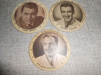 Vintage 1930's Dixie Ice Cream Cup Lid-Cary Grant, Robert Taylor, William Powell
