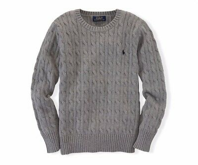 NWT Polo  Ralph Lauren Boys Cable-Knit Sweater M(10-12) 100% cotton Grey $55