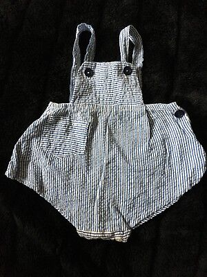 Vintage Baby Bubble Romper Blue and White Stripes
