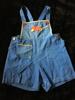 Vintage Baby Boys Overalls Romper Blue Red Wagon