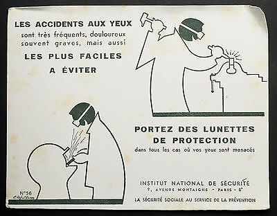 Buvard Publicitaire Ancien : Securite Sociale Prevention - Accidents Aux Yeux