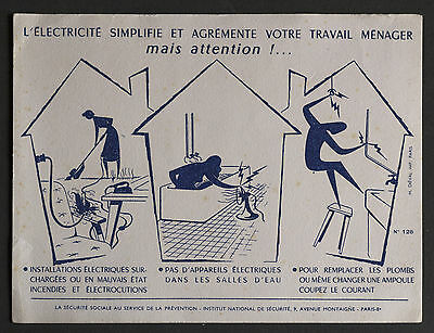 Buvard Publicitaire Ancien : Securite Sociale Prevention - Electricite