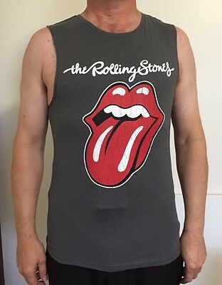 Rolling Stones Sleeveless Grey Cotton Muscle Shirt TShirt -  Size S