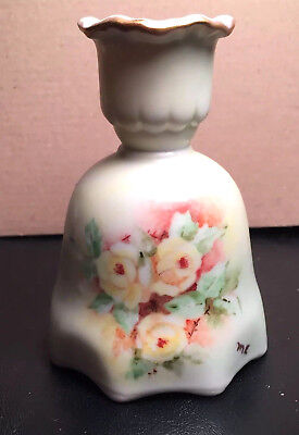 Unusual Vintage Hand Painted Porcelain Bell and Candle Holder