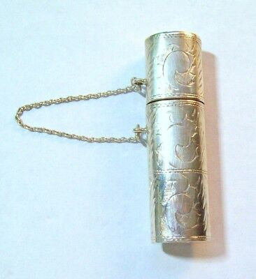 Antique Sterling Silver Chatelaine Needle Holder  or Pill Box Case - 9.48 Grams