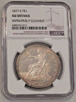 1877-S $1 Trade Silver Dollar Coin T$1 NGC AU Details