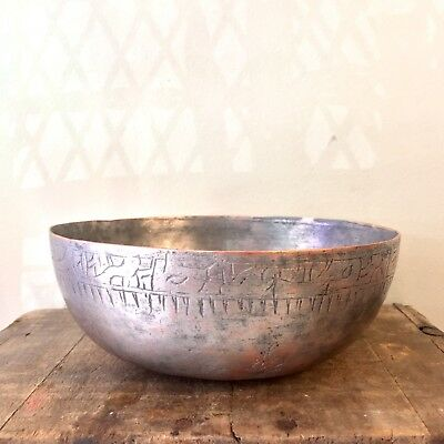 ANTIQUE Ottoman  ENGRAVED TIN COPPER BOWL CAST forged OVER 100 YEARS OLD