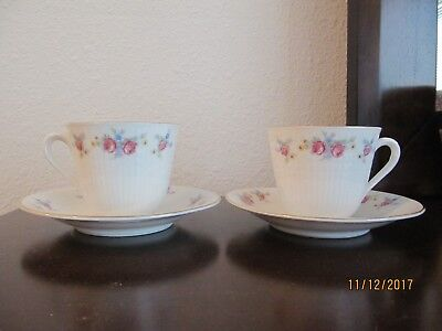 2 Rorstrand Sweden Demitasse Cups and Saucers --- Floral