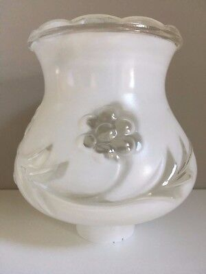 "Vintage White Grape Flower Glass Torchiere Sconce Lamp Light Shade 1 3/4"" fitter"