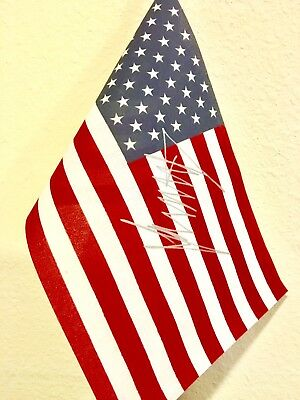 DONALD TRUMP AUTOGRAPH AMERICAN FLAG Signed At Rally
