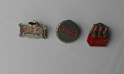 3 Coca-Cola Pins, Six Pack, Bottle Cap, Old Fashioned Logo, Great Condition
