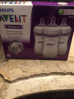 New Open Philips Avent Natural 3 9 Oz 125Ml  Bottle Set Bpa Free Anti-Colic 1+M