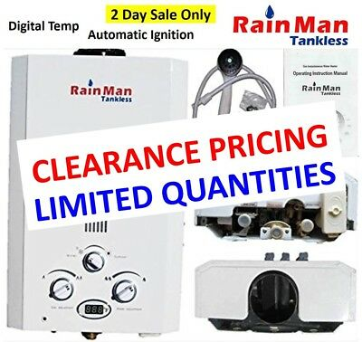 Rain Man L6 Tankless Water Heater LPG Liquid Propane 2.0 GPM Digital Temperature