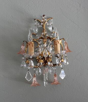 Antique Italian gilt tole Murano crystal pink flower Maison Bagues style sconce