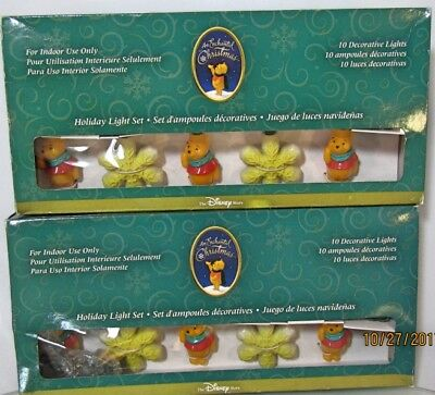 2 Sets of DISNEY Winnie-The-Pooh Blow Mold String Lights Christmas Santa