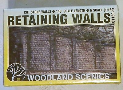 NEW Woodland Scenics C1159 Cut Stone Retaining Walls 6 Sections - N scale 1:160