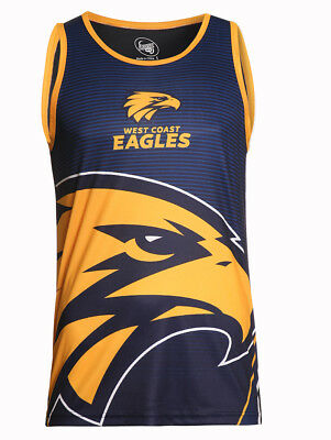 West Coast Eagles 2018 AFL Sublimated Training Singlet Sizes S-3XL BNWT