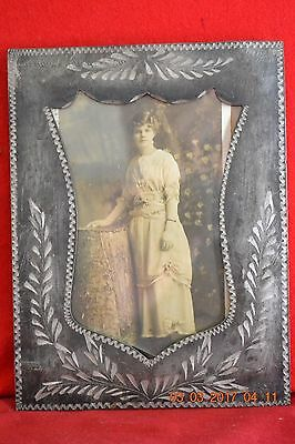Art Nouveau Wheat  Etched Metal Pewter Frame