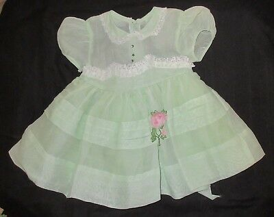 VTG Baby Dress Mint Green Lace Sheer Rhinestone Tulle Net Slip 12 18 M Frilly