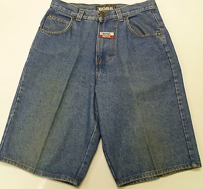 fd2b0dff4 Boss Baggy Denim Blue Jean Shorts Size 34 Performance Patches Hip Hop USA  Mens