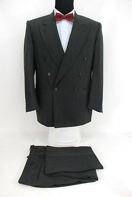 Canali Italy Double Breasted Men's Suit Charcoal Gray Black Stripe Wool 40R