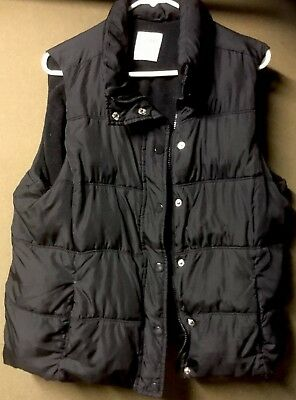 "Womens Old Navy Black ""Size XL Petite"" Botton Down/Zipper Puffy Vest~Great Cond"