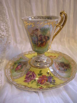 Vtg Austria Yellow Empire Style Footed Cabinet Cup, Ornate Figures, Flowers