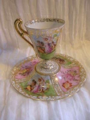 Vtg Pink & Gold Cabinet Cup, Antique Empire Style, Ornate Flowers & Godd
