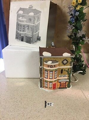 Dept 56 Dickens Village King's Road Post Office #58017 W/ Box, Cord & Sign