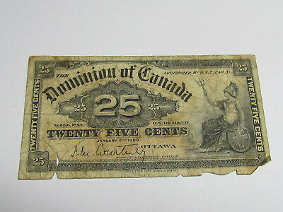 1900 25 Cent Canada Note World Paper Money