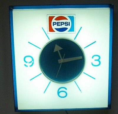 """Lighted Pepsi Clock/Sign """"it works"""""""
