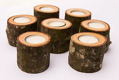 Wooden Candle Holders, Tealight Holders for Weddings with Rustic Bark