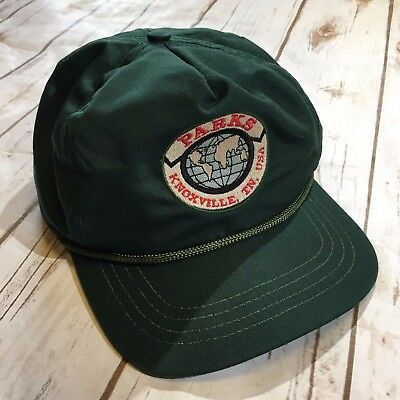 Vtg Parks Knoxville TN USA Strapback Hat Cap Forest Green Embroidered Tennessee
