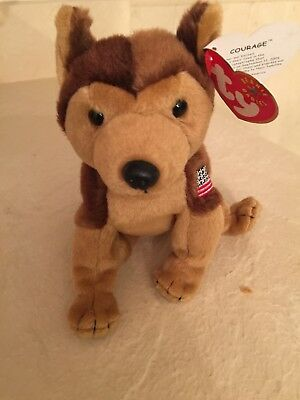 Ty Beanie Babies:  Courage (Bear Sitting/standing) Flag On Left - Original Tags