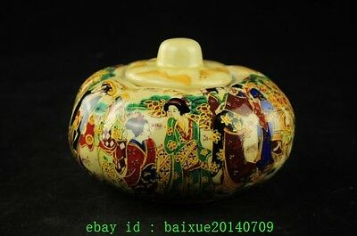 china Old Handwork Jingdezhen Porcelain Painting Dowager Pumpkin Storage Pot