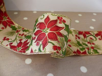 """2.5"""" 63MM WireEdge Christmas Poinsettia on Gold Burlap Ribbon New Year Party DIY"""