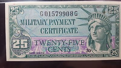 Series 591 USA 25 Cents Military Payment Certificate GEM UNC 65 EPQ PMG RARE