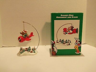 Vintage 1998 Scooby Doo- Scrappy Doo Flying Plane Christmas Ornament-Stand-Rare